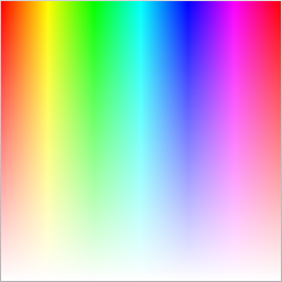 Hue/saturation two-dimensional gradient